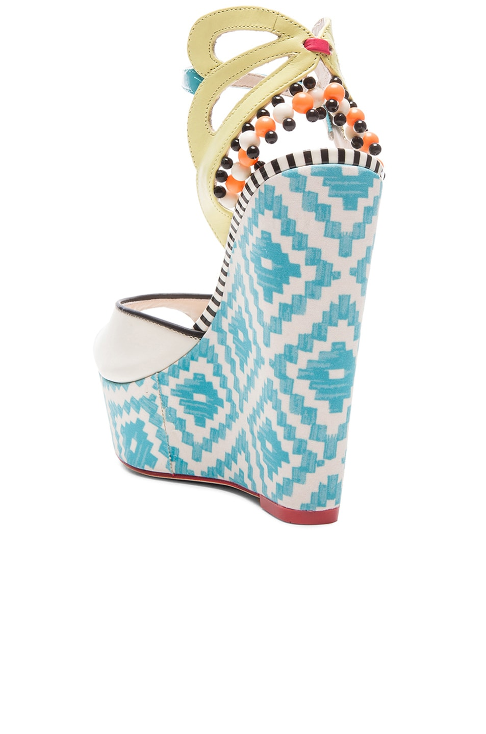 Image 3 of Sophia Webster Lula Aztec Leather Wedges in Blue & Winter White