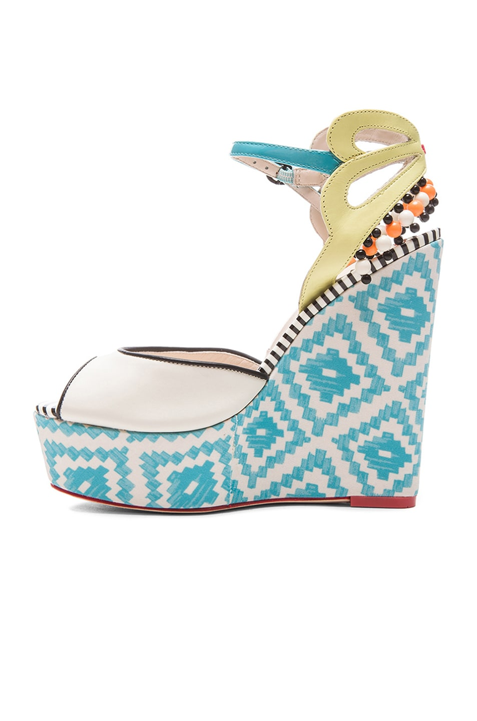 Image 5 of Sophia Webster Lula Aztec Leather Wedges in Blue & Winter White