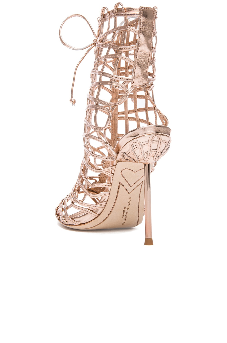 Image 3 of Sophia Webster Delphine Leather Booties in Gold