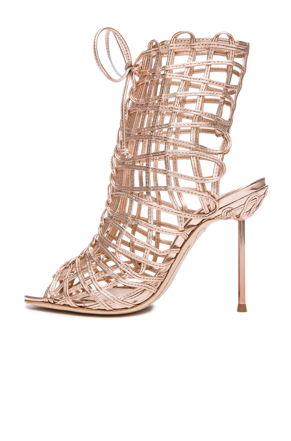 Image 5 of Sophia Webster Delphine Leather Booties in Gold
