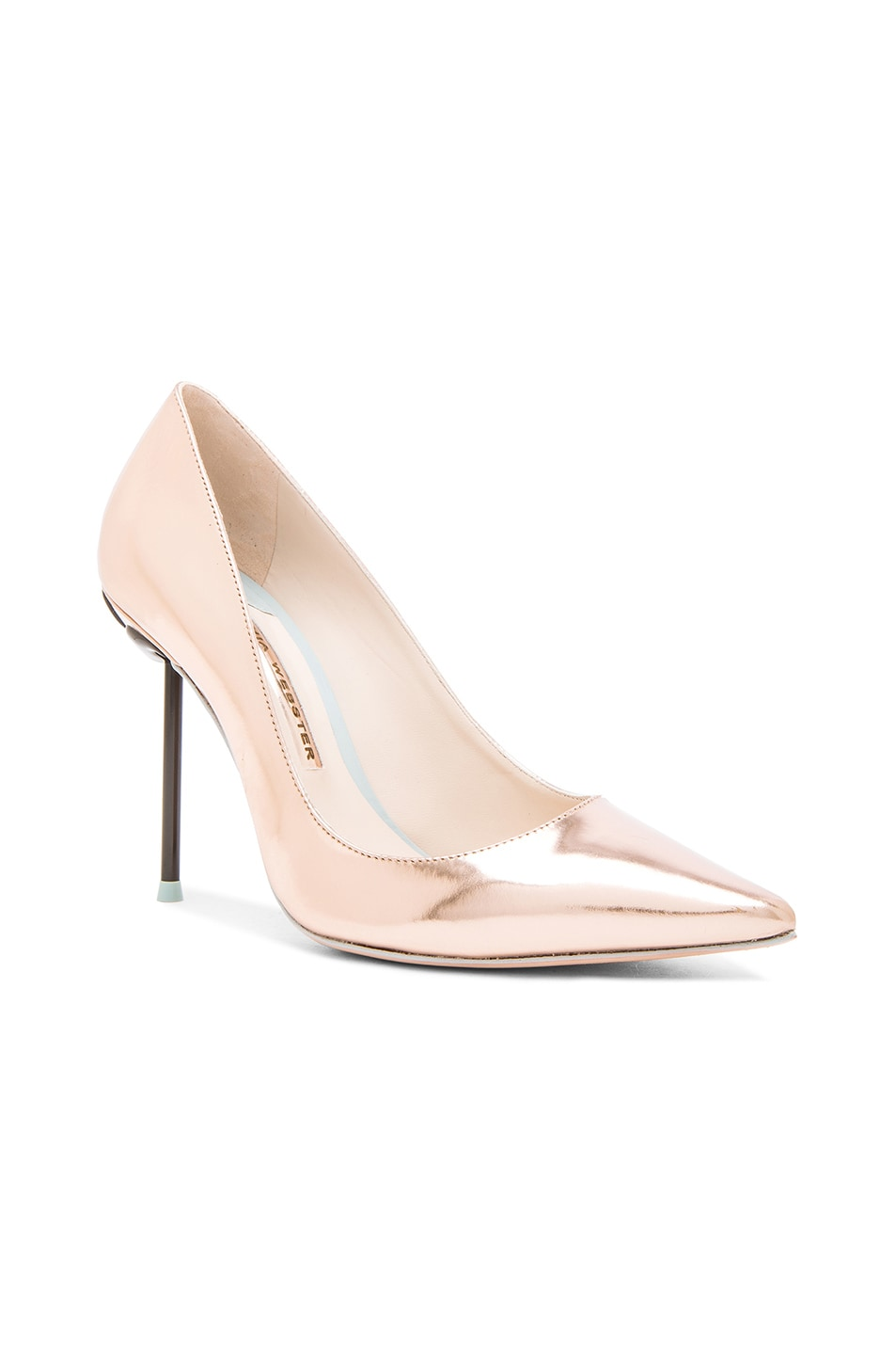 Image 2 of Sophia Webster Coco Flamingo Leather Heels in Rose Gold
