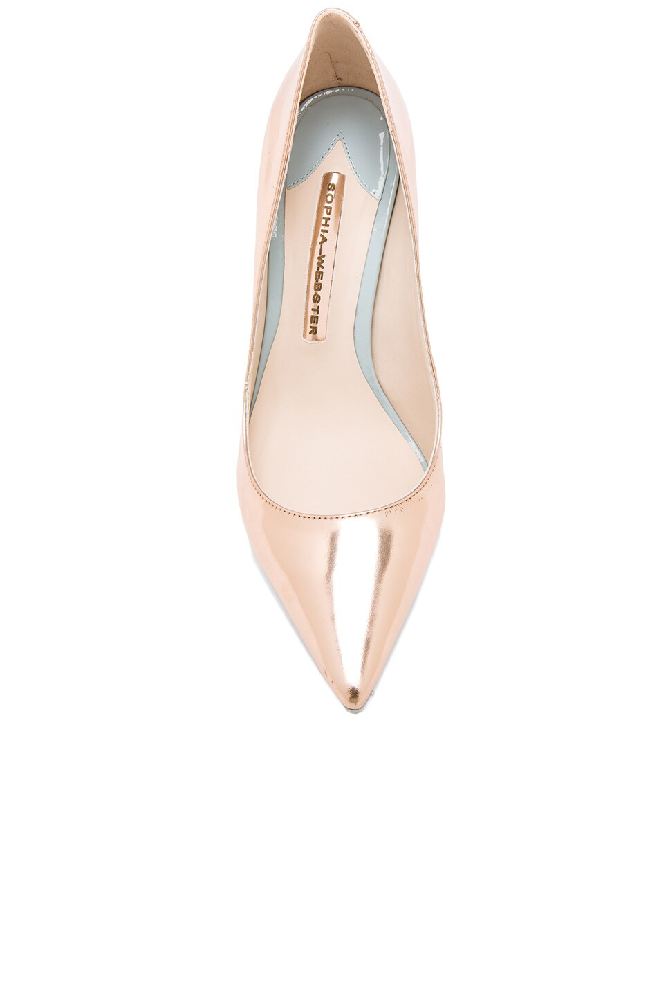 Image 4 of Sophia Webster Coco Flamingo Leather Heels in Rose Gold