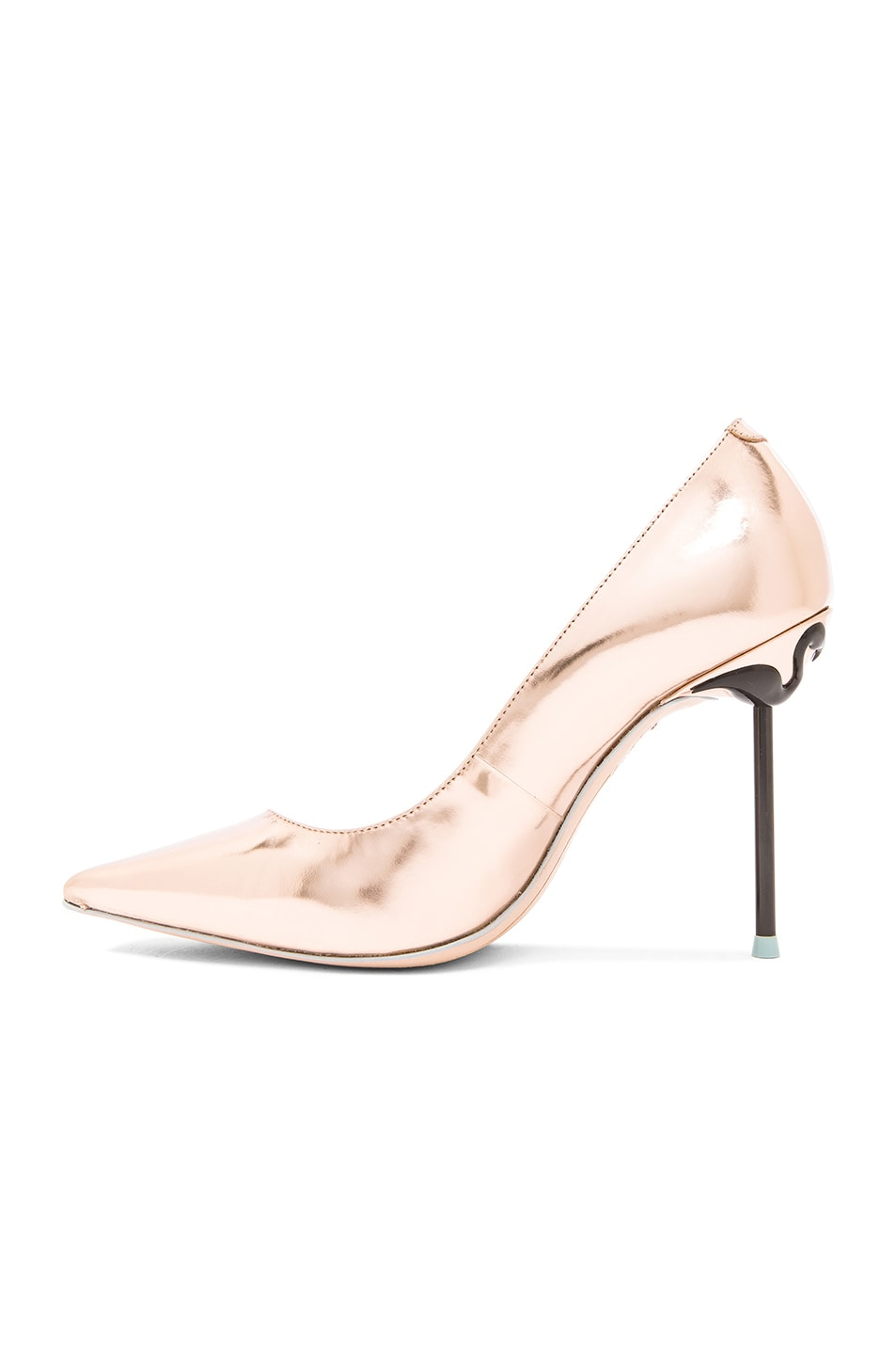 Image 5 of Sophia Webster Coco Flamingo Leather Heels in Rose Gold