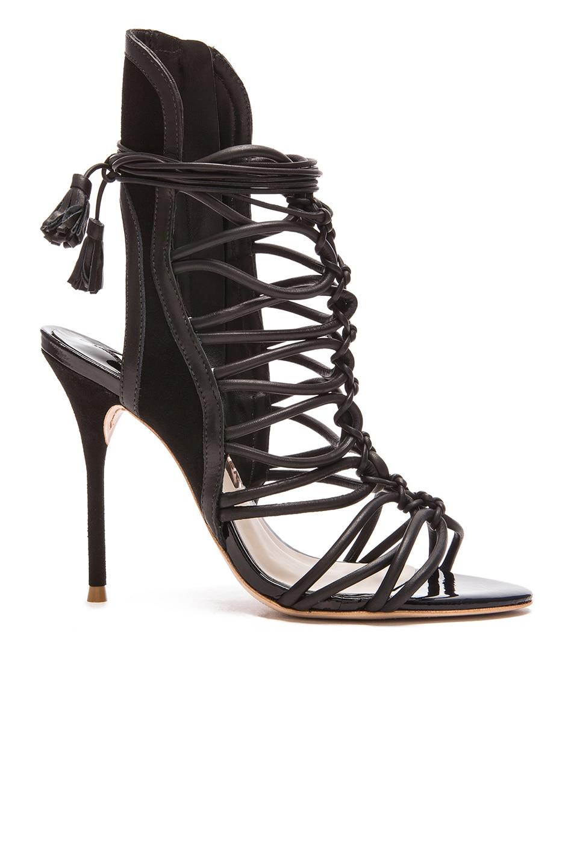 Image 1 of Sophia Webster Lacey Leather Heels in Black