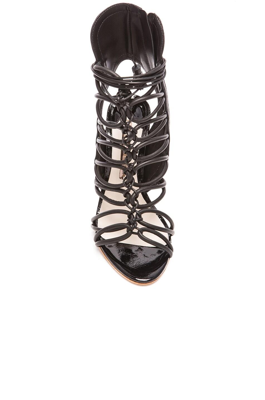 Image 4 of Sophia Webster Lacey Leather Heels in Black