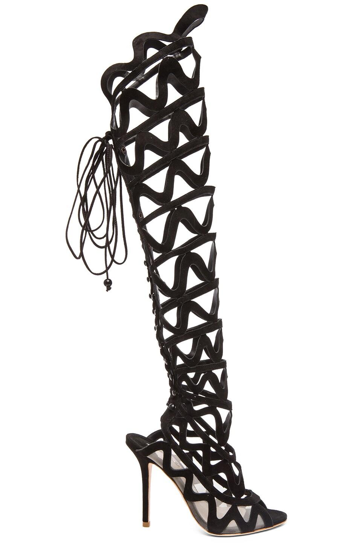 Image 1 of Sophia Webster Suede Over The Knee Mila Suede Heels in Black