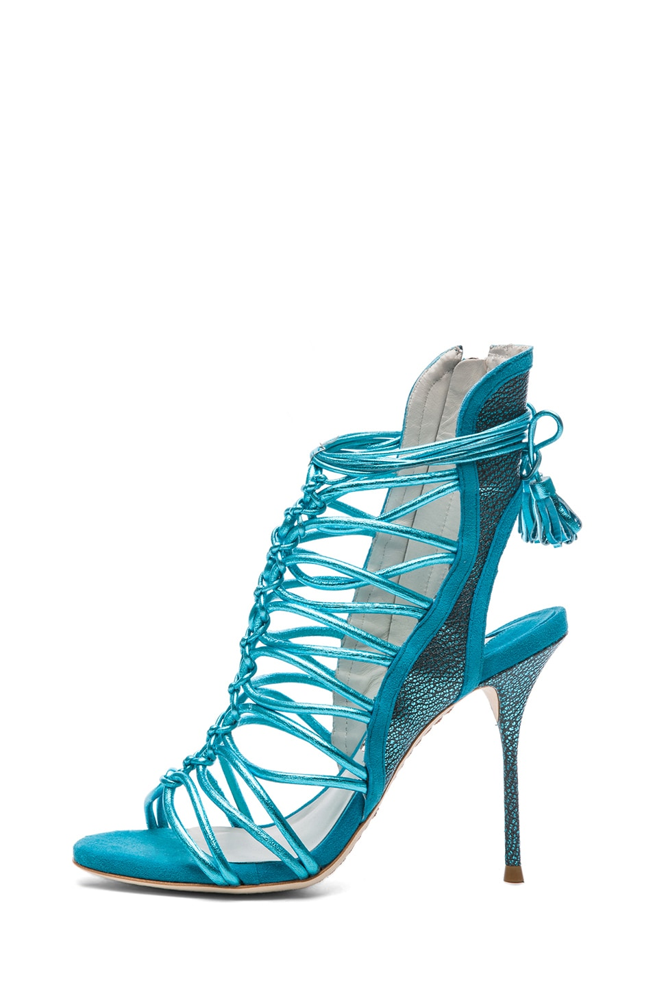 Image 1 of Sophia Webster Lacey Grain Metallic Leather Tie Up Heels in Turquoise