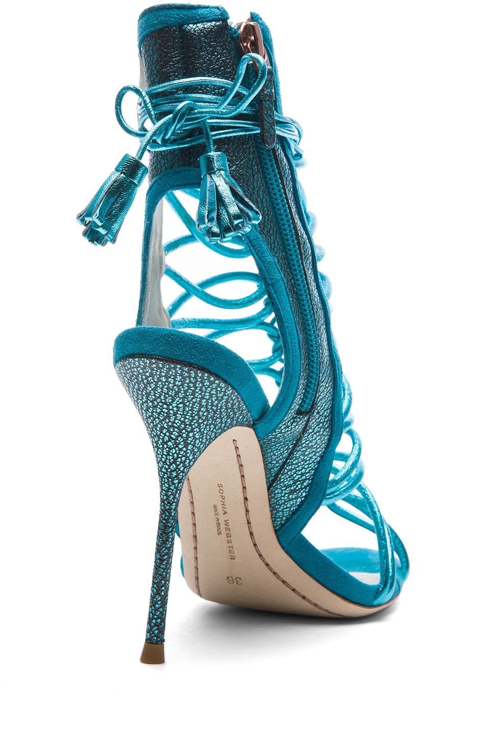 Image 3 of Sophia Webster Lacey Grain Metallic Leather Tie Up Heels in Turquoise