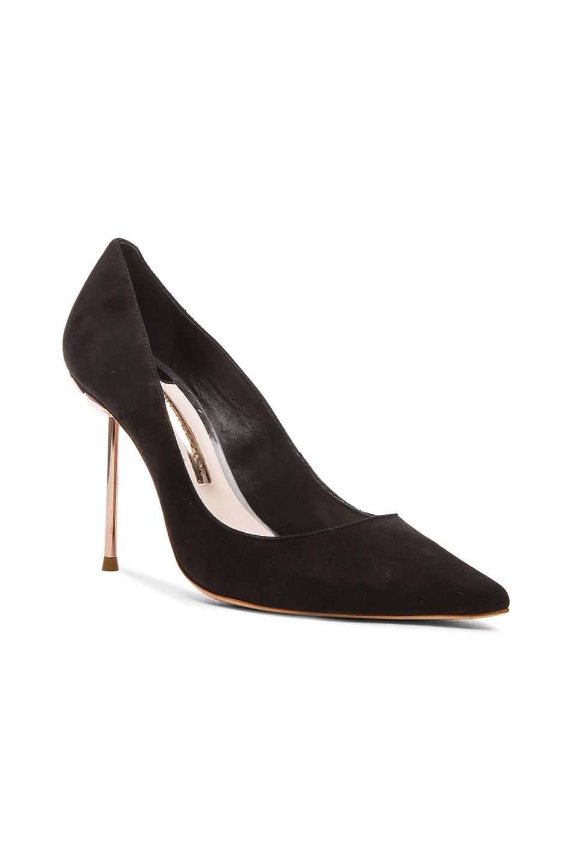 Image 2 of Sophia Webster Coco Flamingo Suede Heels in Black Suede