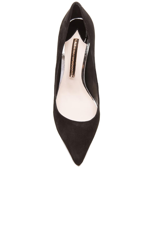 Image 4 of Sophia Webster Coco Flamingo Suede Heels in Black Suede