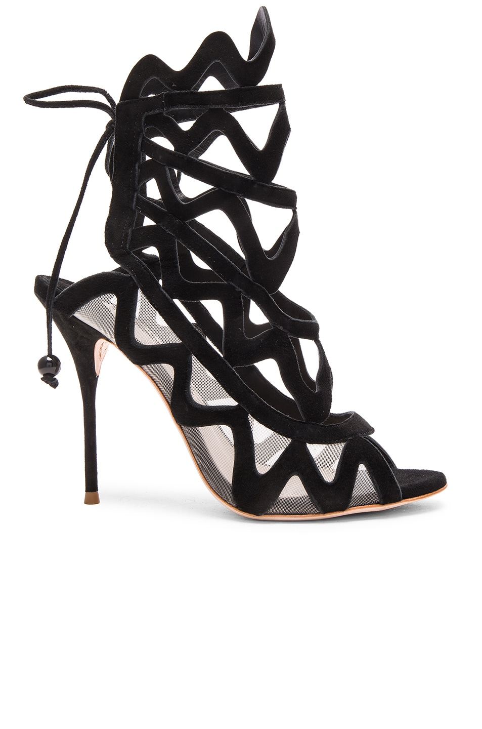 Image 1 of Sophia Webster Suede Mila Heels in Black