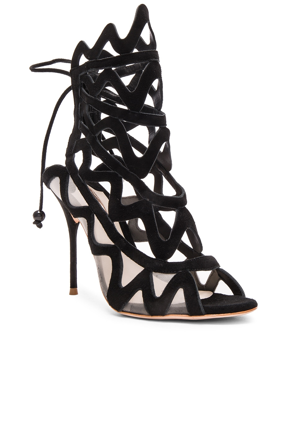 Image 2 of Sophia Webster Suede Mila Heels in Black