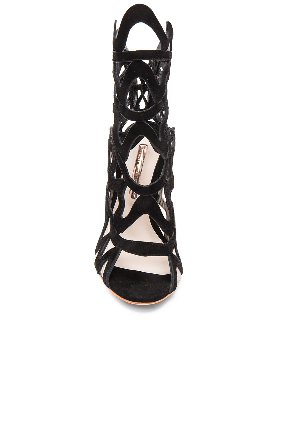 Image 4 of Sophia Webster Suede Mila Heels in Black