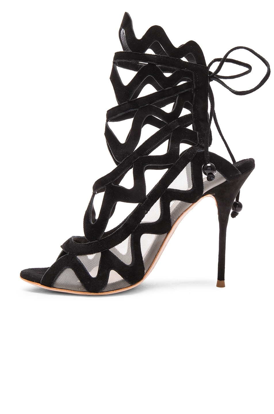 Image 5 of Sophia Webster Suede Mila Heels in Black