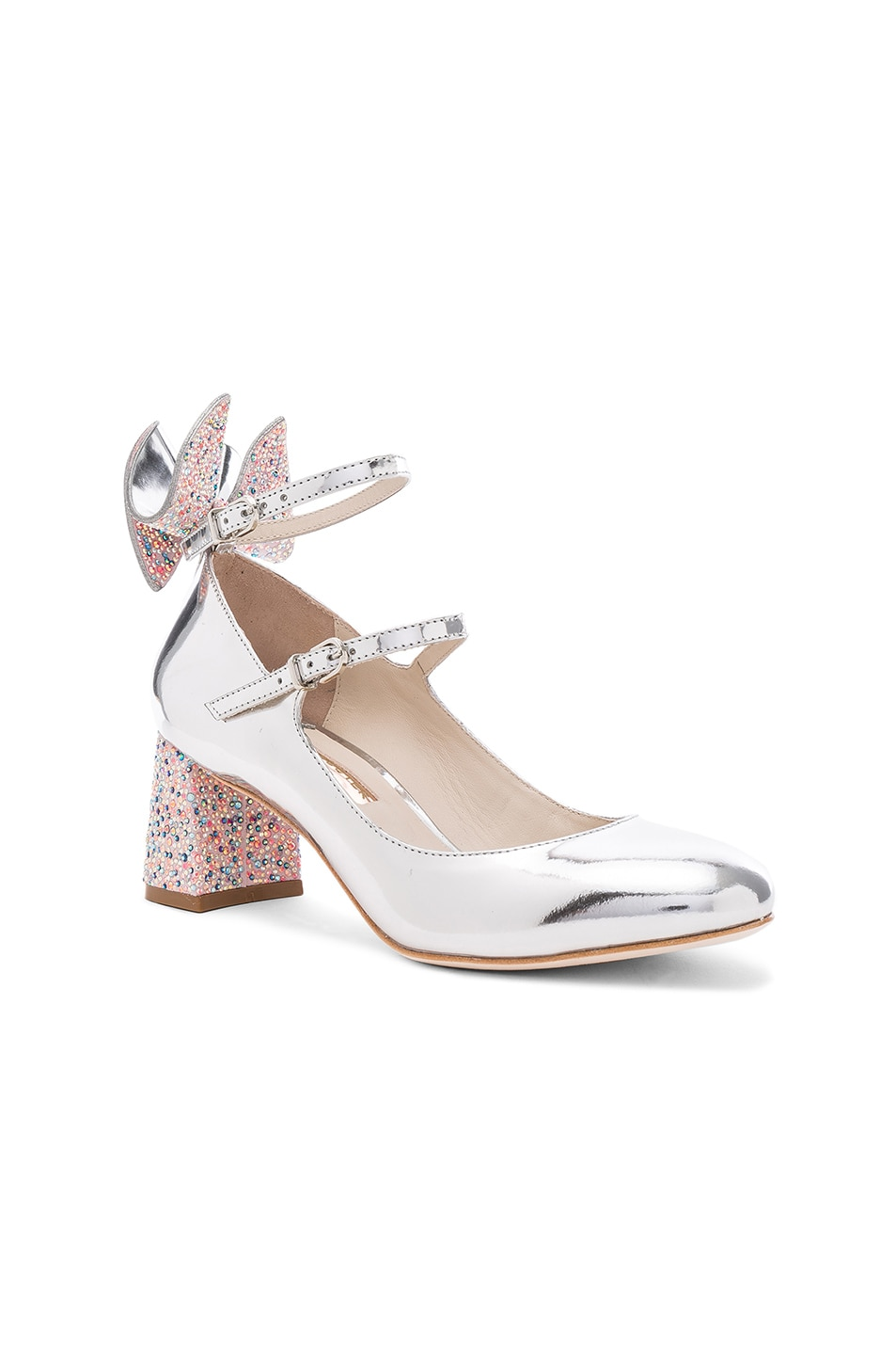 Image 2 of Sophia Webster Leather Lilia Mid Mary Jane Heels in Silver