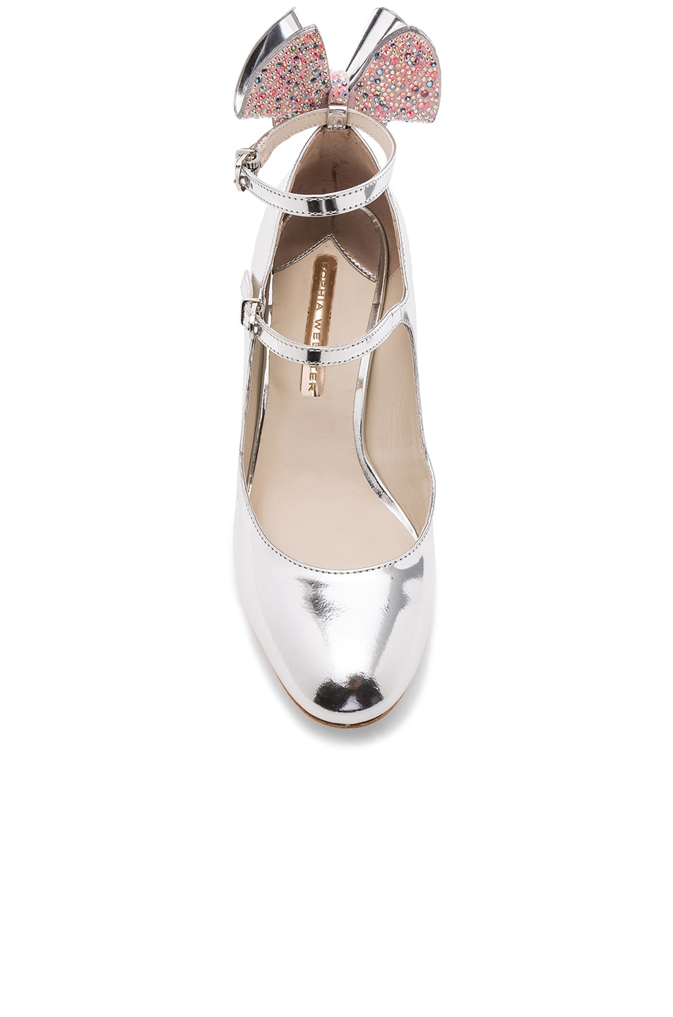 Image 4 of Sophia Webster Leather Lilia Mid Mary Jane Heels in Silver