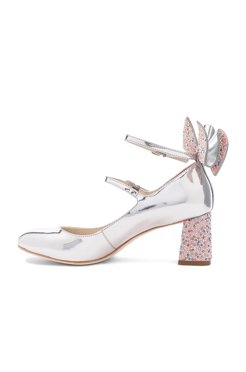 Image 5 of Sophia Webster Leather Lilia Mid Mary Jane Heels in Silver