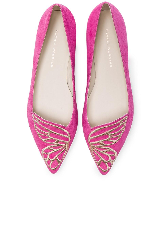 Image 1 of Sophia Webster Suede Bibi Butterfly Flats in Magenta & Rose Gold