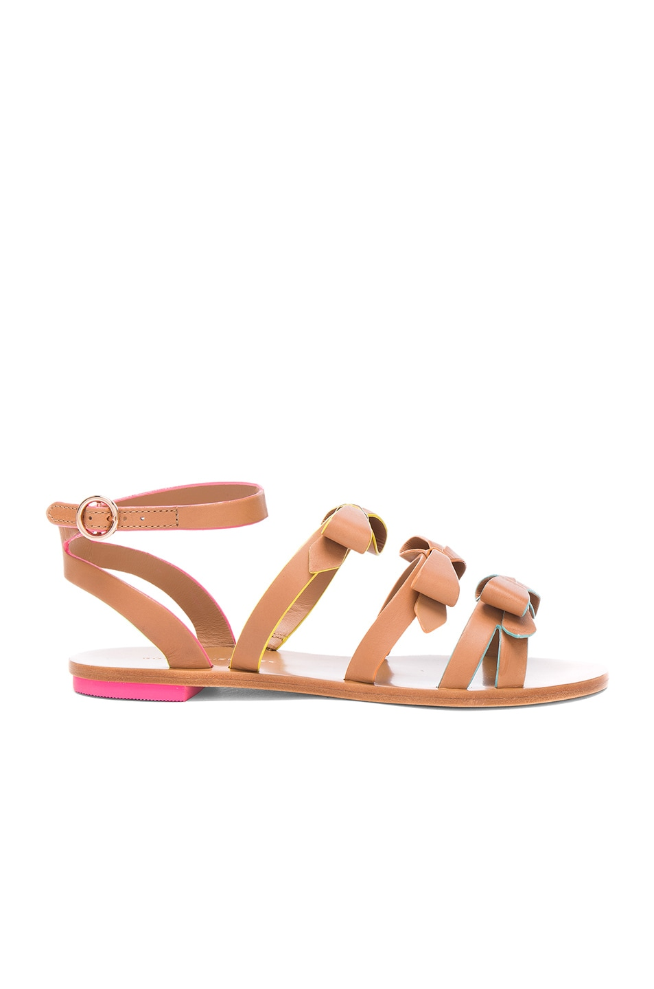 Image 1 of Sophia Webster Leather Samara Flat Sandals in Tan