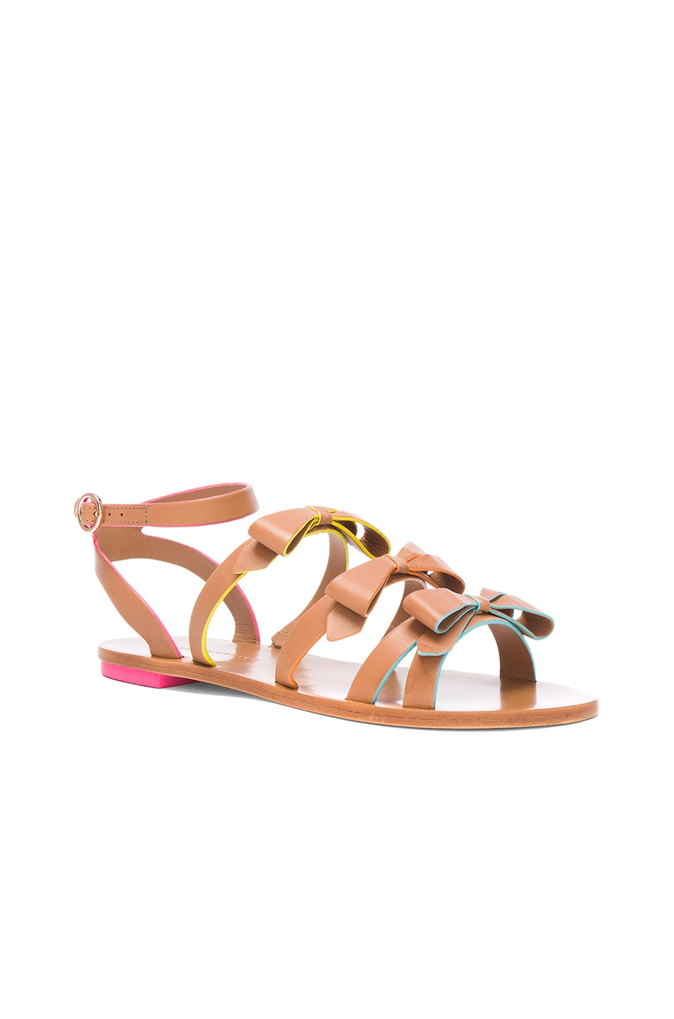 Image 2 of Sophia Webster Leather Samara Flat Sandals in Tan