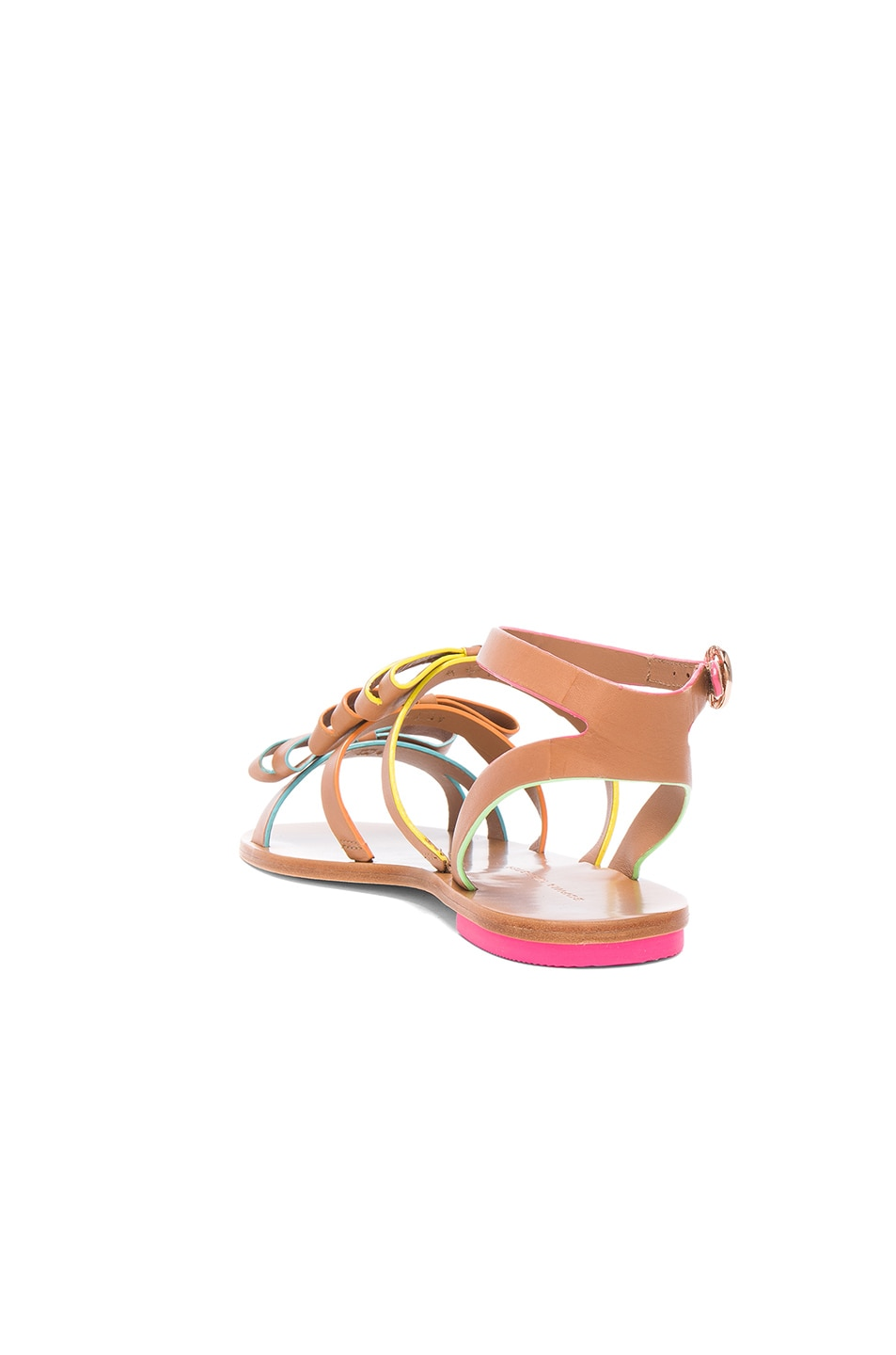 Image 3 of Sophia Webster Leather Samara Flat Sandals in Tan