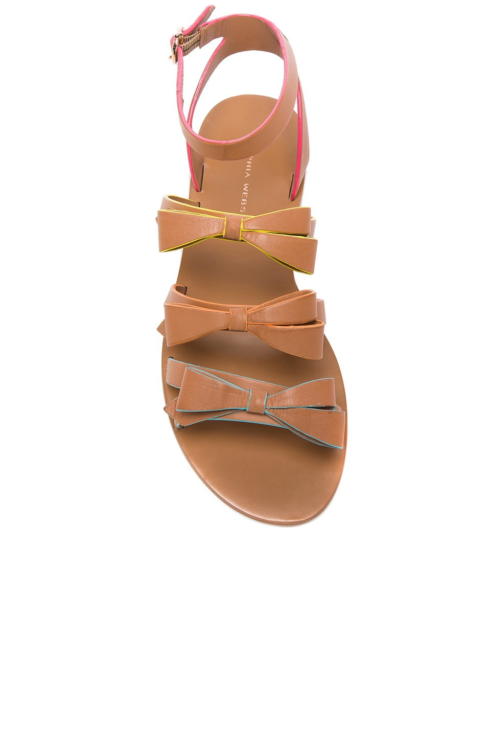 Image 4 of Sophia Webster Leather Samara Flat Sandals in Tan