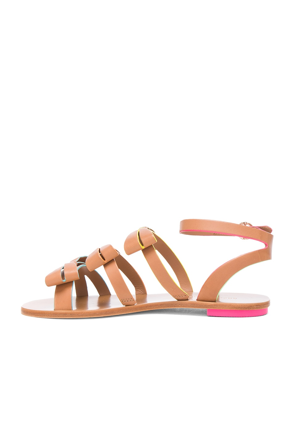 Image 5 of Sophia Webster Leather Samara Flat Sandals in Tan