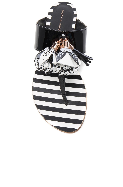 Image 4 of Sophia Webster Patent Leather Saffi Slide in Black & White