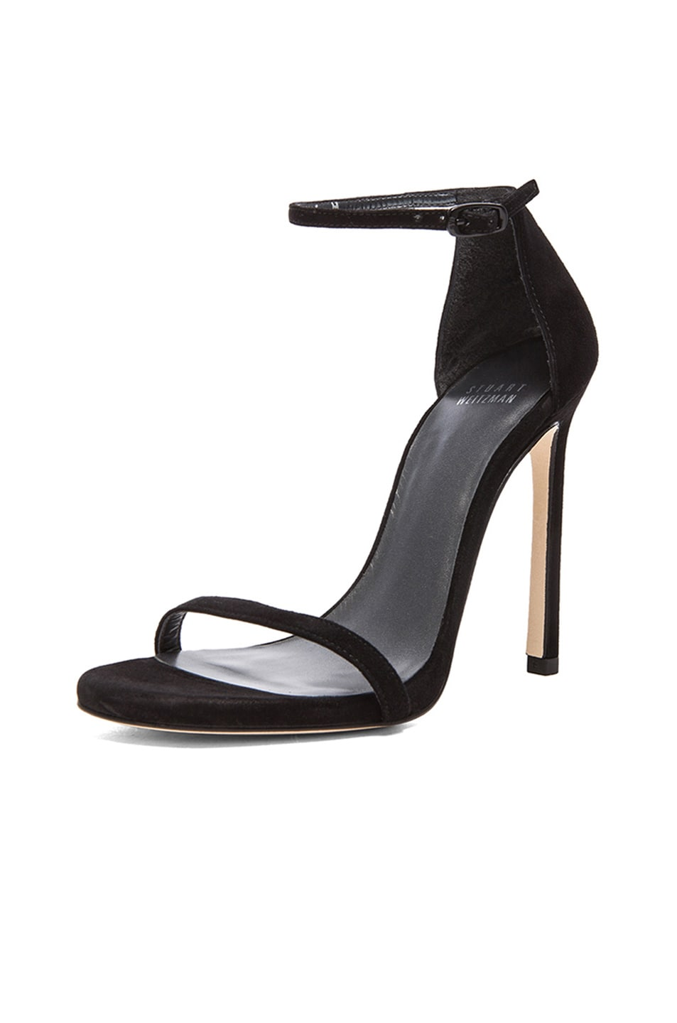 Image 2 of Stuart Weitzman Suede Nudist Heels in Black Suede