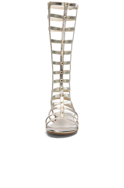 Image 4 of Stuart Weitzman Metallic Nappa Leather Gladiator Sandals in Cava