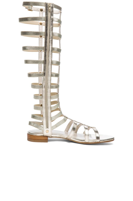 Image 5 of Stuart Weitzman Metallic Nappa Leather Gladiator Sandals in Cava