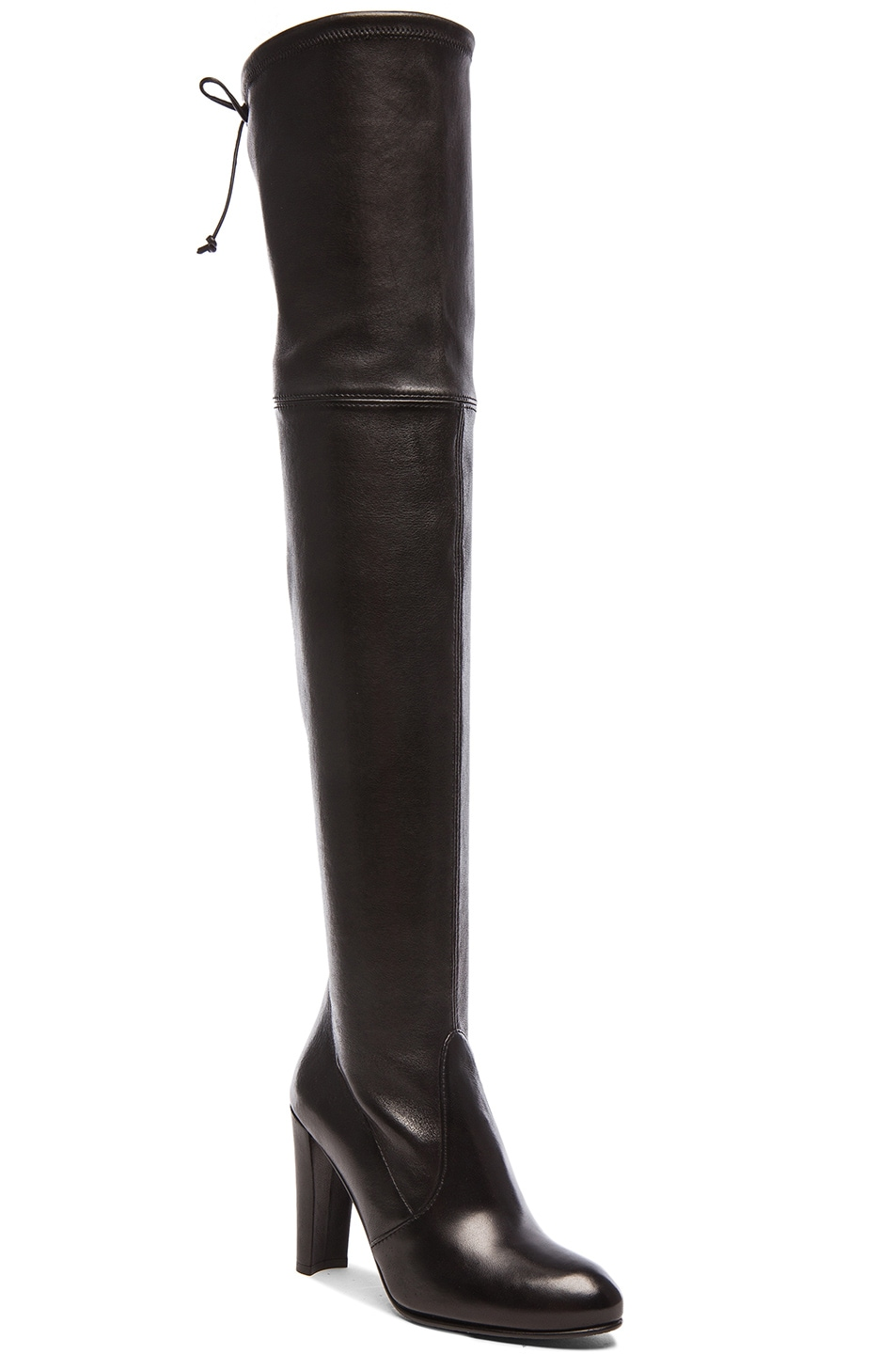 Image 2 of Stuart Weitzman Stretch Leather Highland Boots in Nero