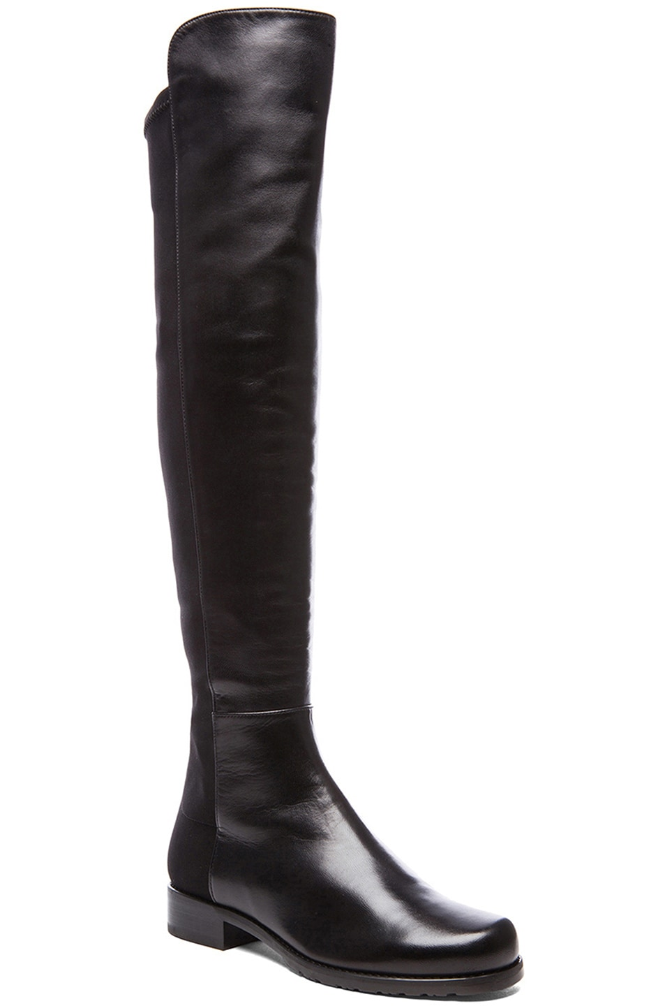 Image 2 of Stuart Weitzman 50/50 Leather & Neoprene Boots in Black