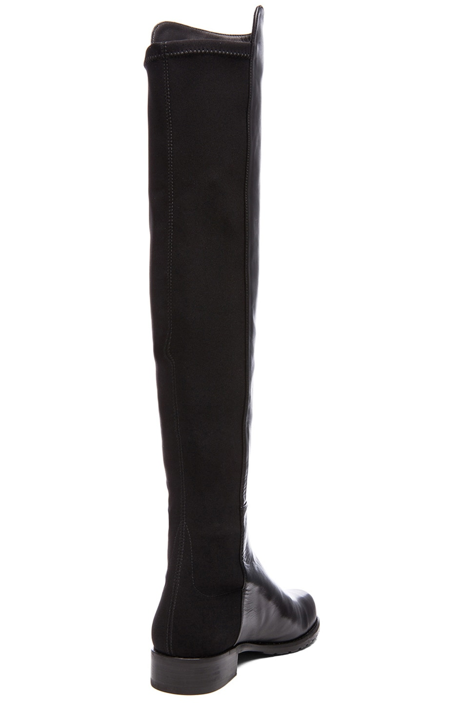 Image 3 of Stuart Weitzman 50/50 Leather & Neoprene Boots in Black