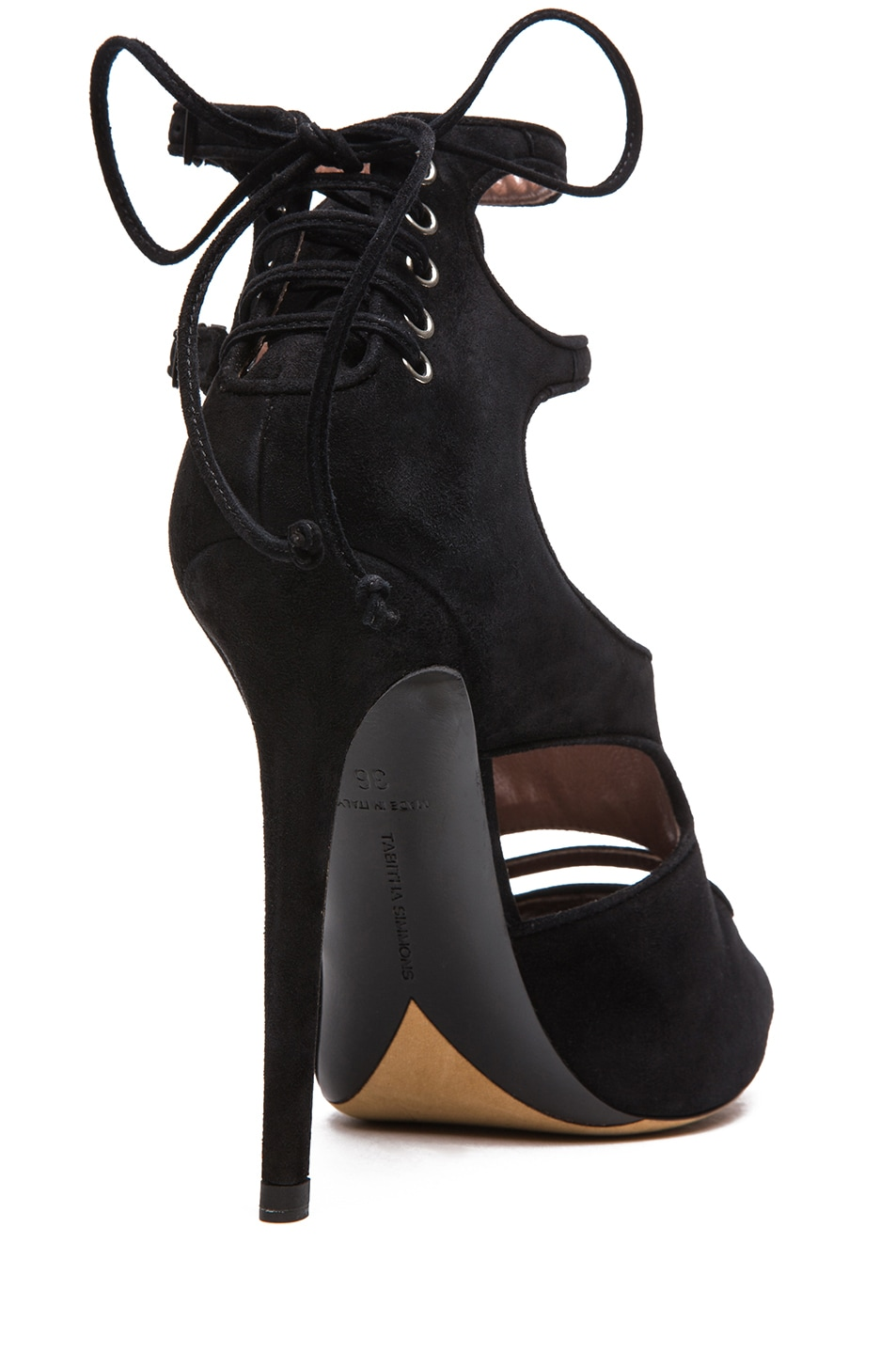 Image 3 of Tabitha Simmons Bailey Suede Heels in Black