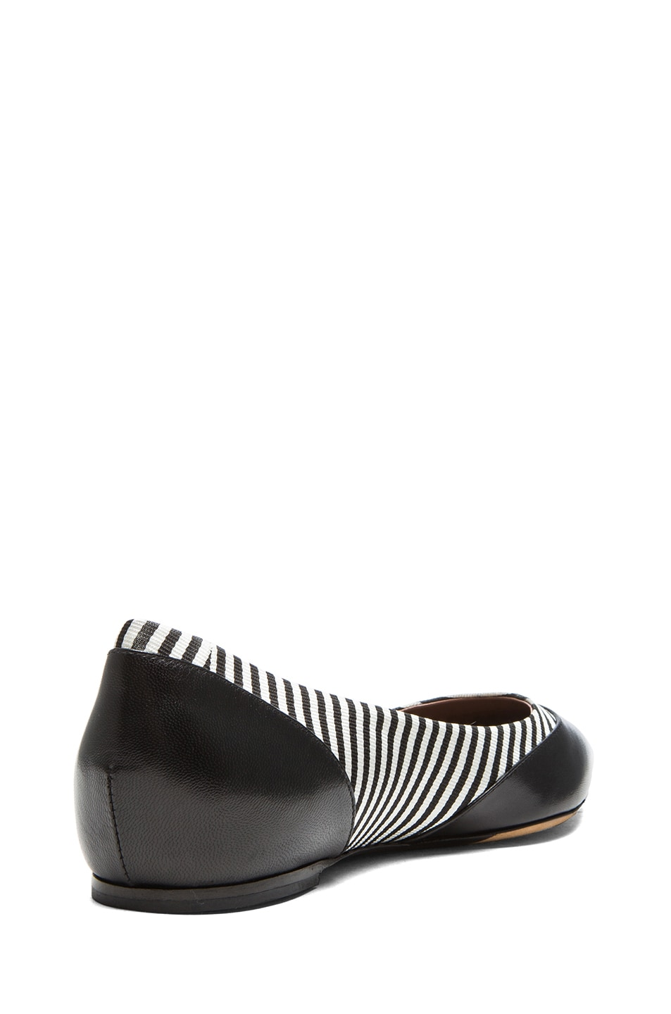 Image 3 of Tabitha Simmons Leith Grossgrain Fabric & Leather Flats in Black & Shirt Stripe