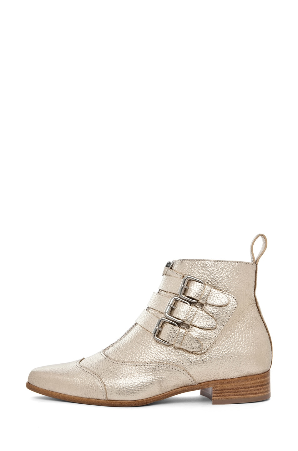 Image 1 of Tabitha Simmons Early Pebbled Leather Booties in Gold