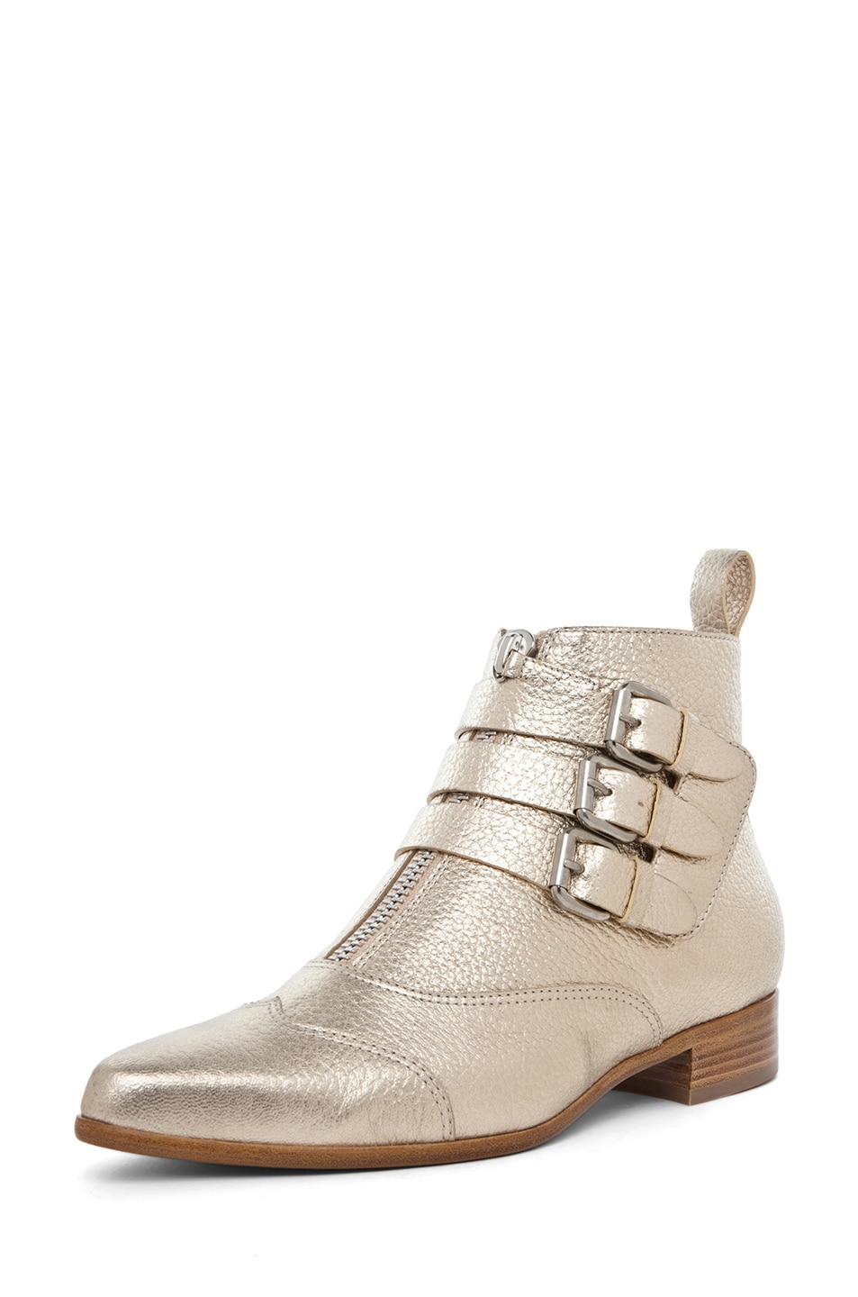 Image 2 of Tabitha Simmons Early Pebbled Leather Booties in Gold