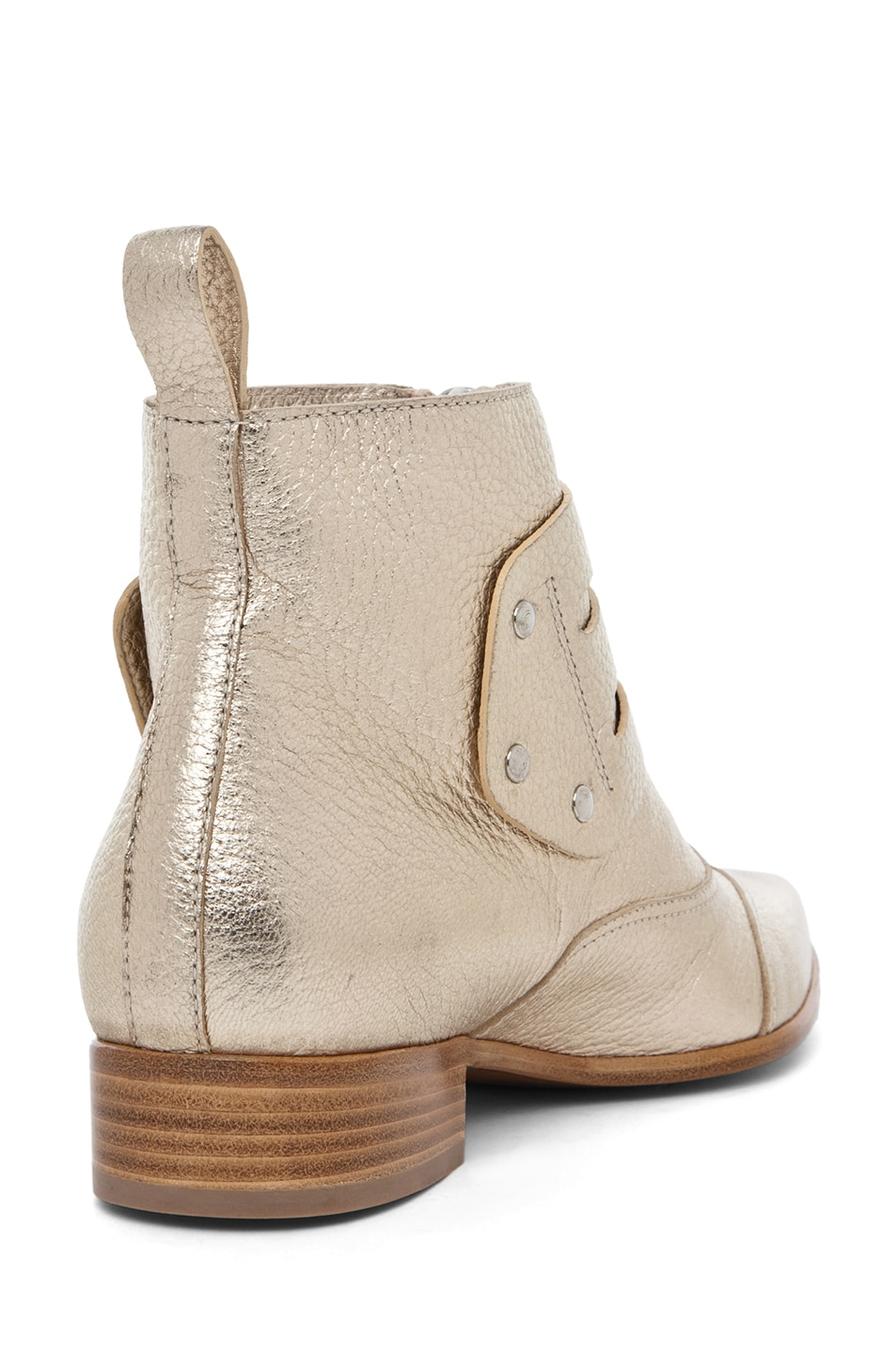 Image 3 of Tabitha Simmons Early Pebbled Leather Booties in Gold