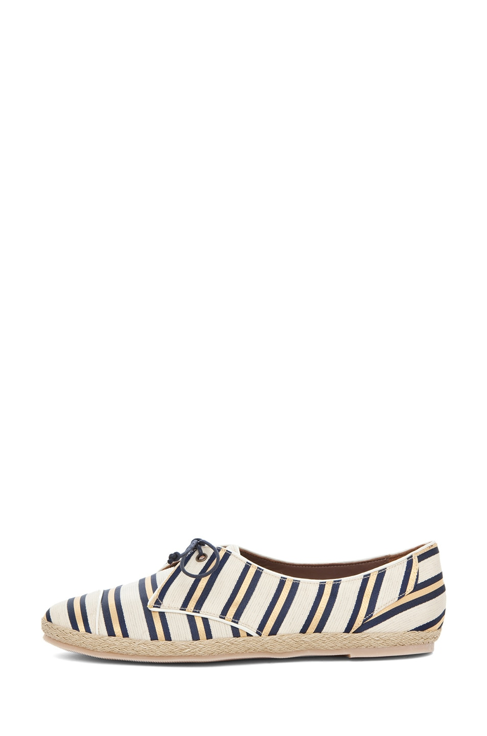 Image 1 of Tabitha Simmons Dolly Shiny-Canvas Cricket Stripe Flats in Gold & Navy