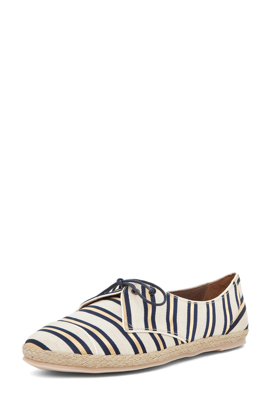 Image 2 of Tabitha Simmons Dolly Shiny-Canvas Cricket Stripe Flats in Gold & Navy