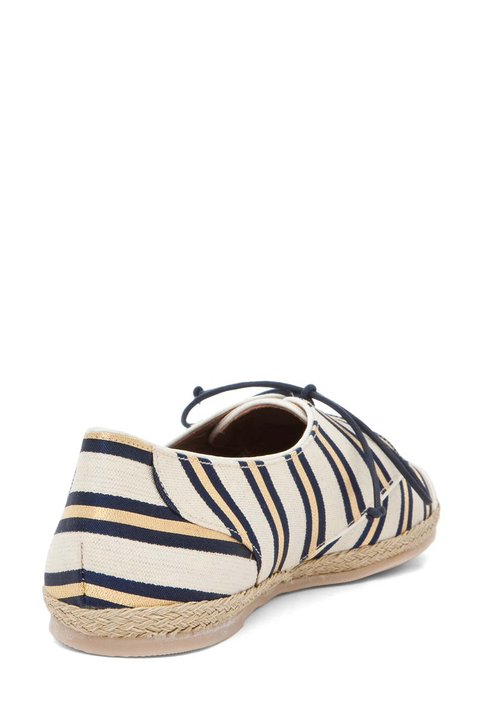 Image 3 of Tabitha Simmons Dolly Shiny-Canvas Cricket Stripe Flats in Gold & Navy