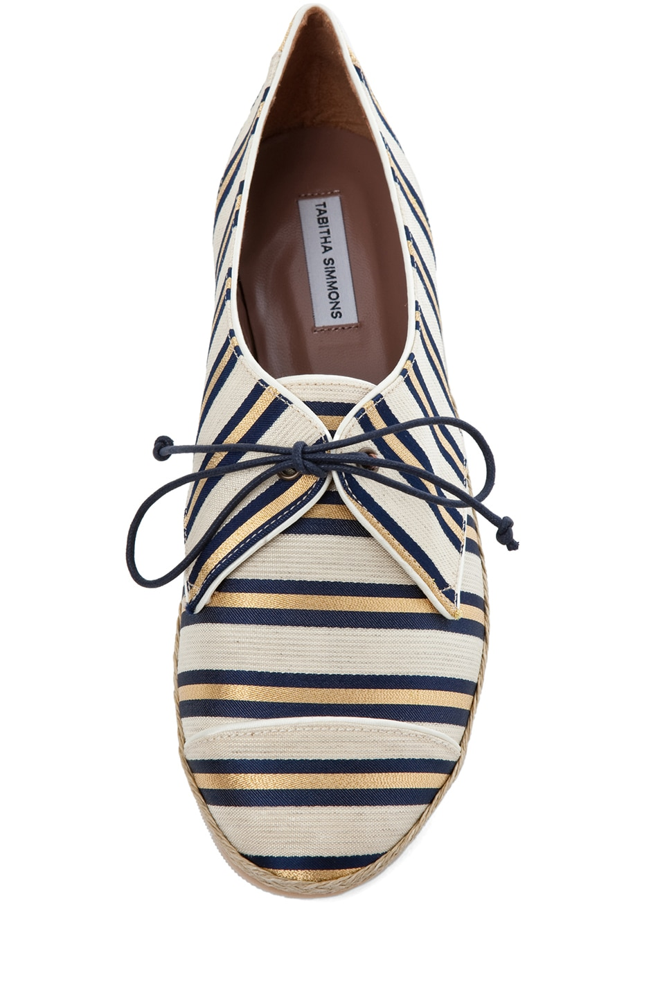 Image 4 of Tabitha Simmons Dolly Shiny-Canvas Cricket Stripe Flats in Gold & Navy