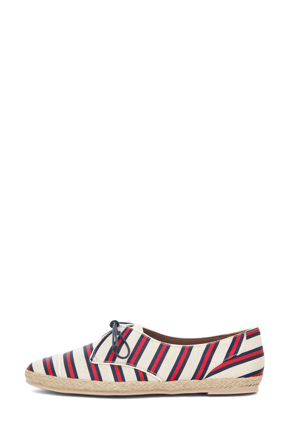 Image 1 of Tabitha Simmons Dolly Shiny-Canvas Cricket Stripe Flats in Red & Navy
