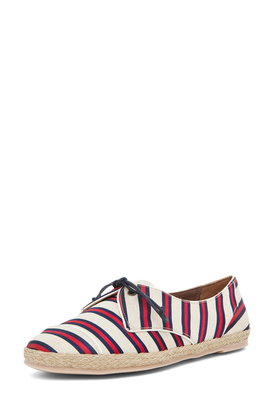 Image 2 of Tabitha Simmons Dolly Shiny-Canvas Cricket Stripe Flats in Red & Navy