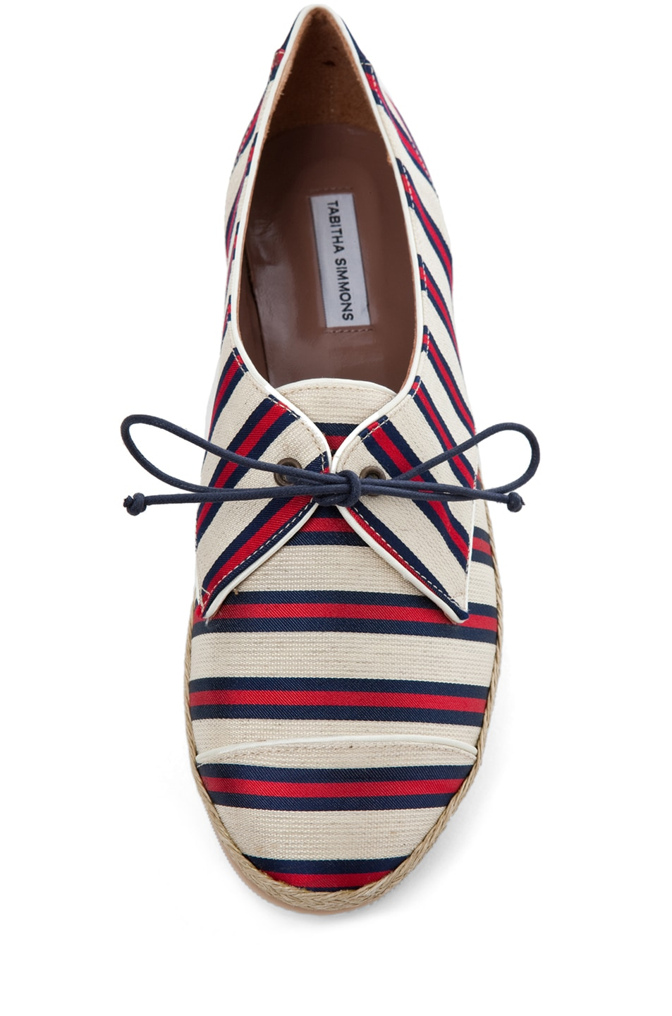 Image 4 of Tabitha Simmons Dolly Shiny-Canvas Cricket Stripe Flats in Red & Navy
