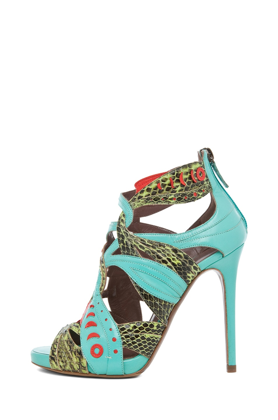 Image 1 of Tabitha Simmons Marina Leather Heel in Lime Aqua