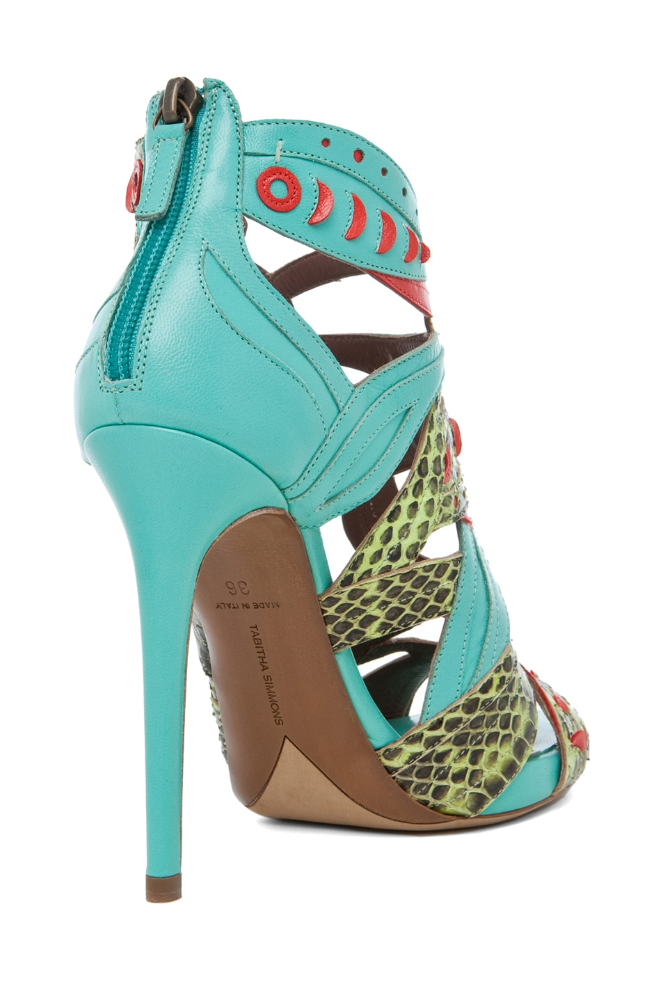 Image 3 of Tabitha Simmons Marina Leather Heel in Lime Aqua