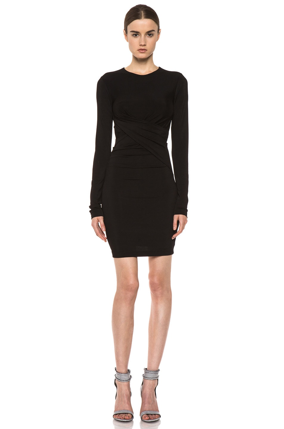 Image 1 of T by Alexander Wang Pique Mesh Long Sleeve Viscose-Blend Twist Dress in Black