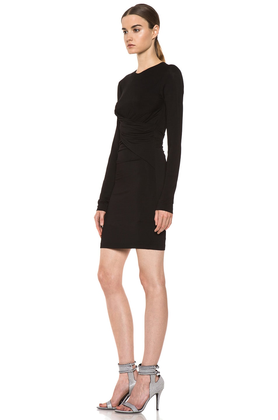 Image 2 of T by Alexander Wang Pique Mesh Long Sleeve Viscose-Blend Twist Dress in Black
